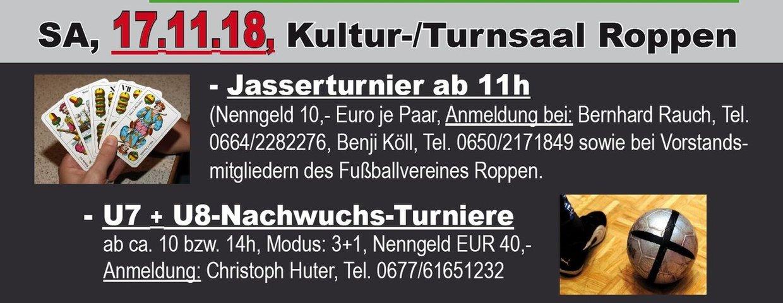 Einladung zum Jasserturnier und Fussball-Hallenturniere